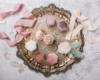 Velvet Hexagon Ring Box | 14 Colors | Modern Romantic Ring Display Storage Box | Geometric Engagement or Wedding Ring Box | Ring Bearer Box