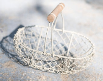 Ivory Flower Girl Basket | Small Wire Flower Girl Pail | Petite Wire Basket  | Small Metal Basket | IMPERFECT • CLEARANCE