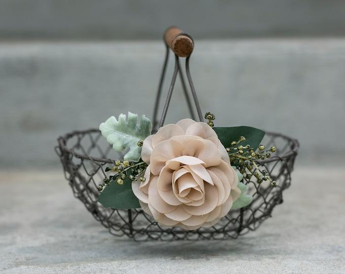 Featured listing image: Rustic Flower Girl Basket | Small Flower Girl Gift | Rustic Wire Basket | Barn Wedding Basket | Choose Nude or Ivory Flower