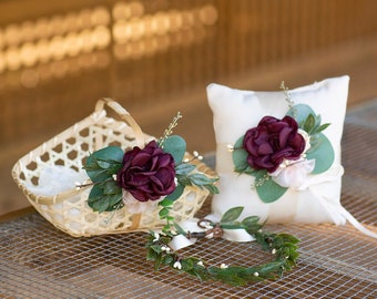 3cde00005 Matching Flower Girl Basket, Greenery Crown and Ring Pillow Set | Ring  Bearer Linen Pillow | Greenery | Burgundy Wedding | Boho Wedding