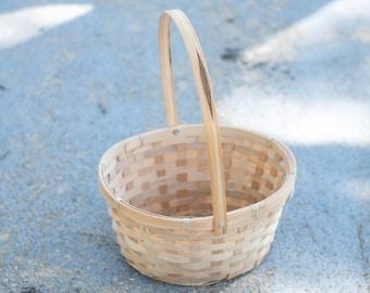 Easter Basket | Natural Wood Flower Girl Basket | Woven Swing Handle Simple Basket | Light Bamboo Wood Basket | Gift Basket | CLEARANCE