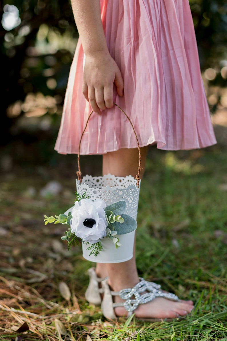 Anemone and Greenery Wedding Florals Modern Flower Girl Basket Flower Girl Basket Card Basket White Metal Shabby Chic Wedding Basket