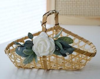 Boho Flower Girl Basket   Bamboo Wood Basket   Boho Flower Girl Style   Ivory Wedding Basket   Petal + Favor Basket Small Flower Girl