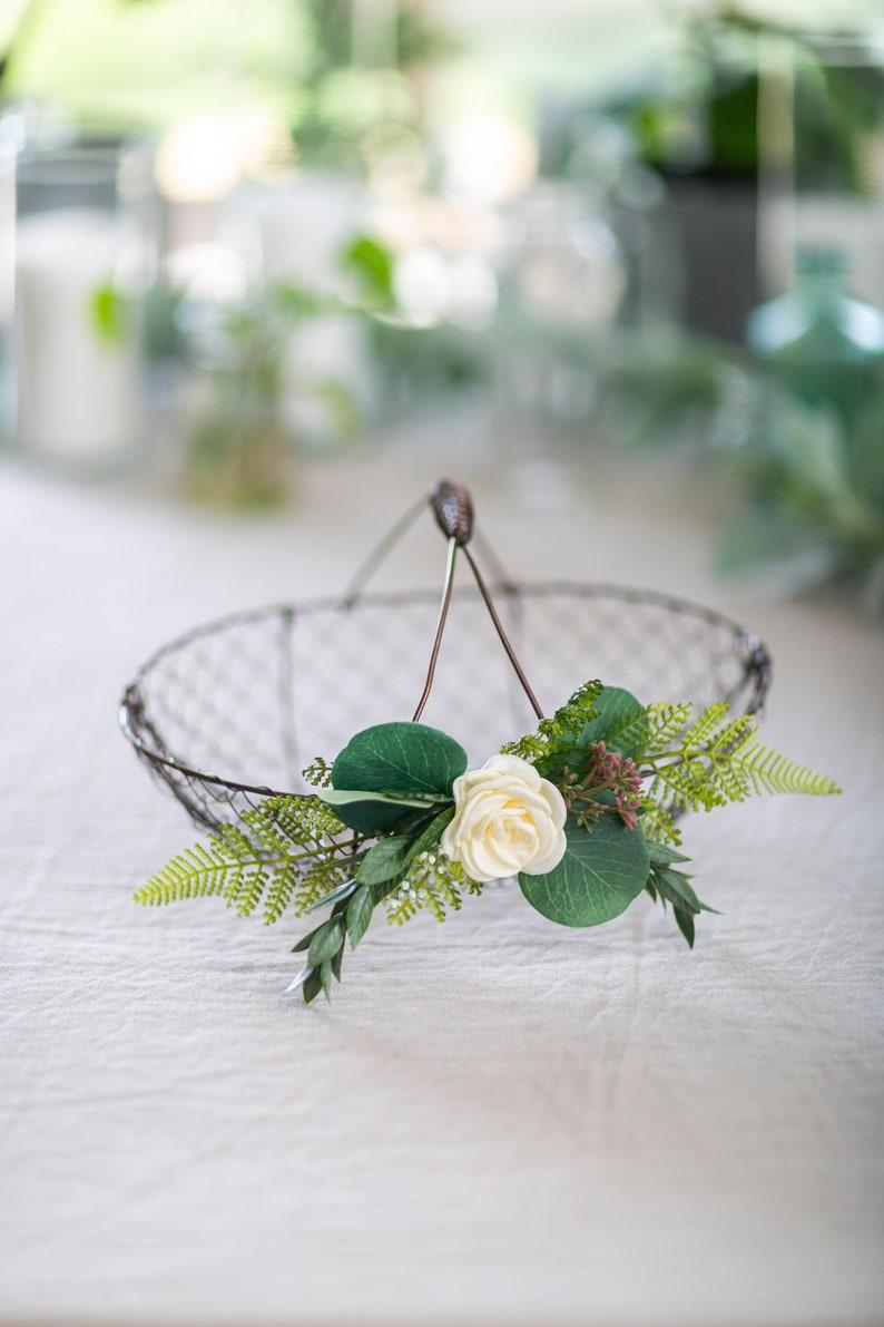 Flower Girl Basket Wire Wedding Basket Wedding Card Basket Fixed Handle Basket Petite Flower Girl Basket Rustic Flower Girl Basket