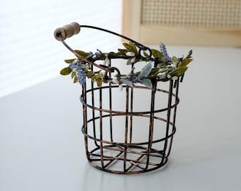 Bronze Flower Girl Basket   Wire Flower Girl Pail   Petite Metal Basket   Wire Pail   Small Metal Basket   Lavender Garden Wedding Decor