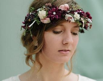 Flower Crown | Floral Crown | Fall Flower Crown | Autumn Flowers | Boho Wedding | Fabric Flower Crown | Bridal Crown | Wedding Hair | Custom