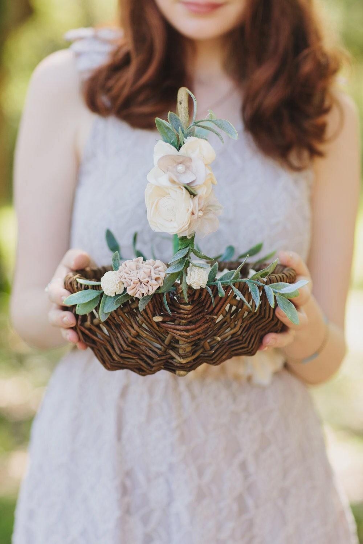 Rustic Flower Girl Basket Card Basket Willow Basket Etsy