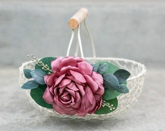 Flower Girl Basket   Barn Wedding Flower Girl Gift   Ivory Petal Basket   Garden Flower Basket   Pink and Ivory Wedding Decor