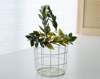 SALE • Ivory Flower Girl Basket   Wire Flower Girl Pail   Petite Metal Basket   Wire Pail   Small Metal Basket