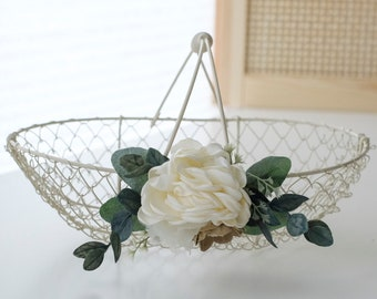 SALE • Ivory Flower Girl Basket   Wire Flower Girl Basket   Metal Basket   Romantic Garden Wedding Decor Basket
