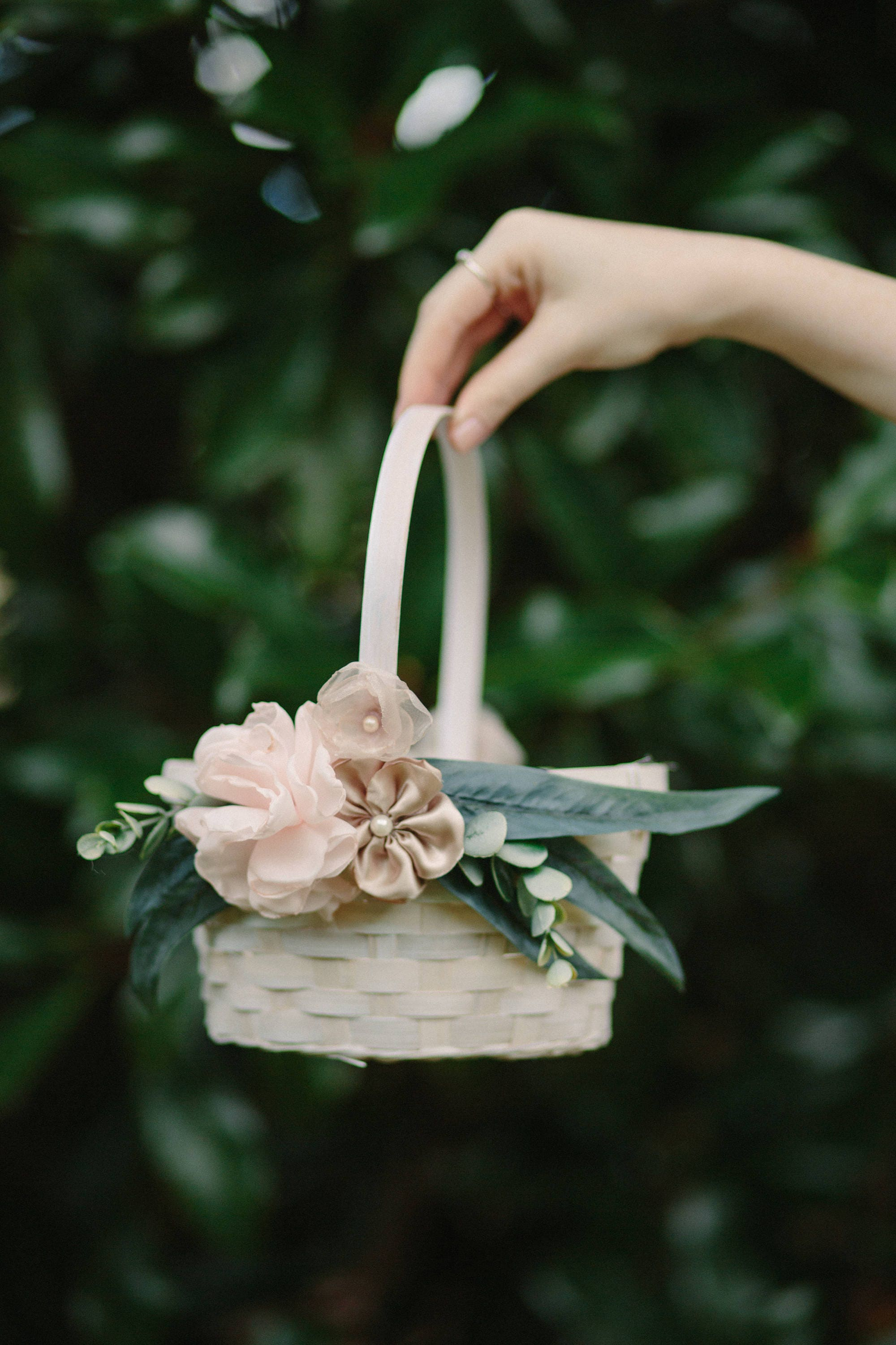 Flower Girl Basket Rose Gold Oval Bamboo Basket Shabby Chic