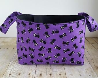Fabric Storage Basket - Black Cats on Purple - Halloween - Toy Storage