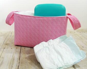 Fabric Storage Basket - Pink Floral Diaper Caddy - Toy Storage