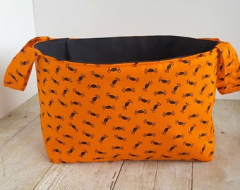 Fabric Storage Basket - Creepy Crawly Spiders - Halloween - Toy Storage