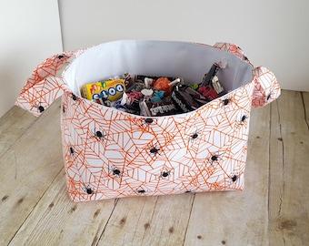 Fabric Storage Basket - Spiders in Cobwebs -Halloween  - Toy Storage