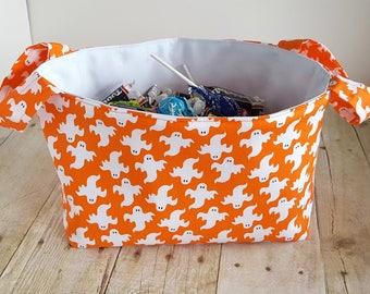 Fabric Storage Basket - Ghosts on Orange - Halloween - Toy Storage