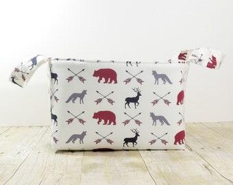 Fabric Storage Basket - Diaper Caddy - In the Woods Arrows Print  - Toy Storage