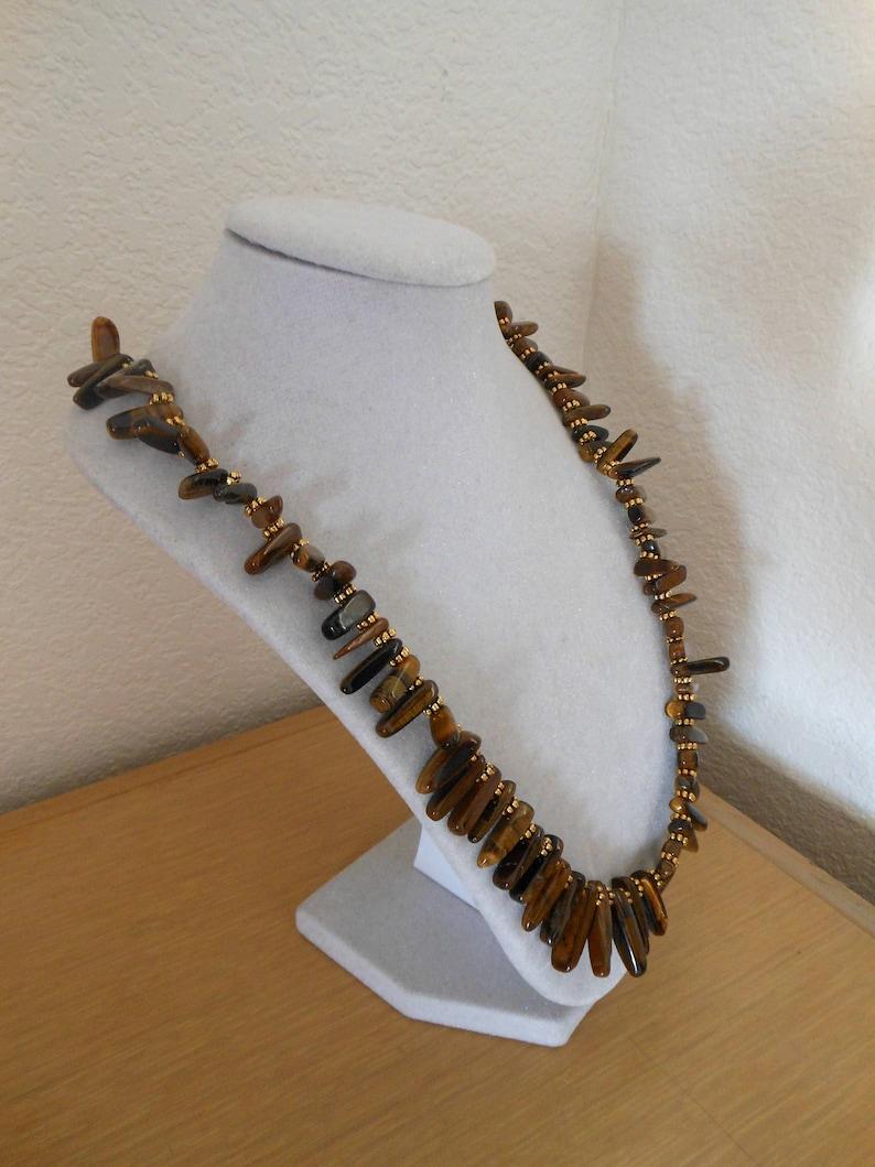 Tigers Eye TreasureGenuine tigers eye stick beads with gold accentswomens tigers eye stick bead necklacetigers eye statement necklace