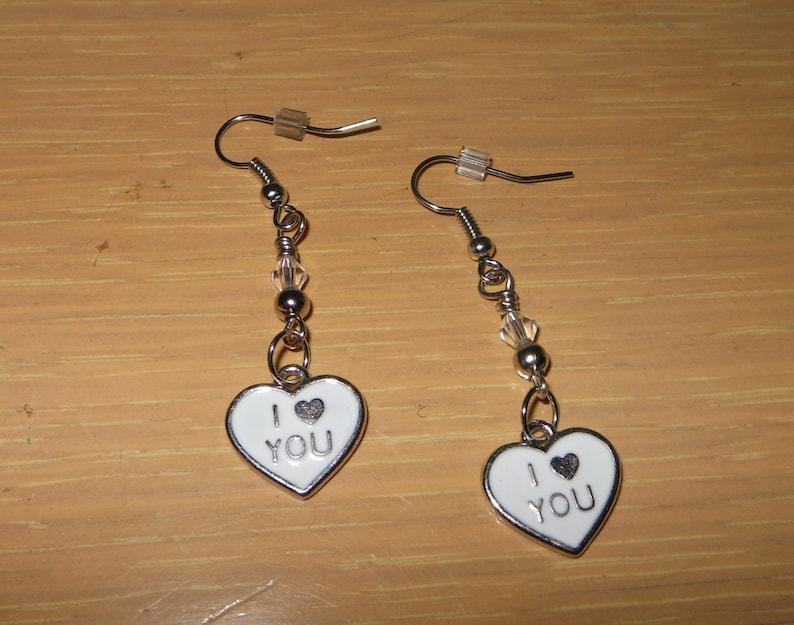 Valentine Heart Charm EarringsWhite I love you earringspierced heart earringsenamel heart earringswomens valentine heart earringsgirls
