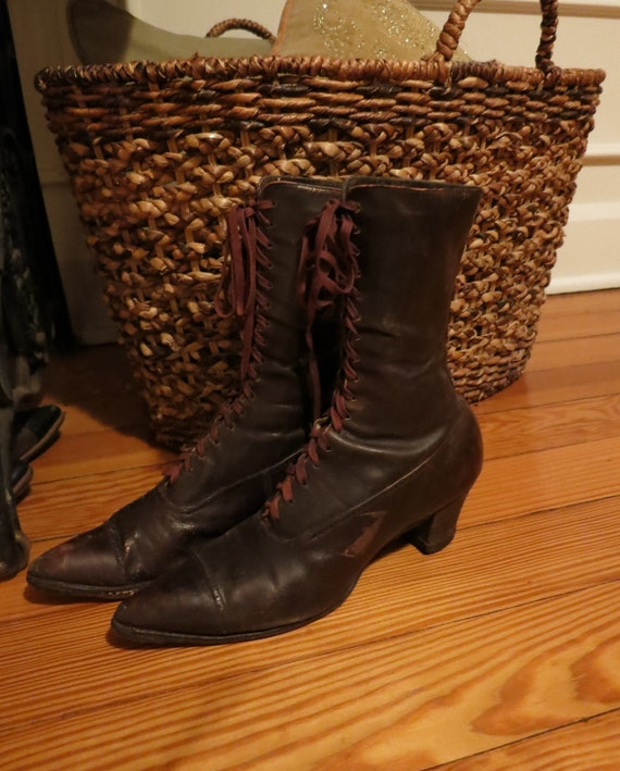 Antique Victorian Edwardian lace up boots