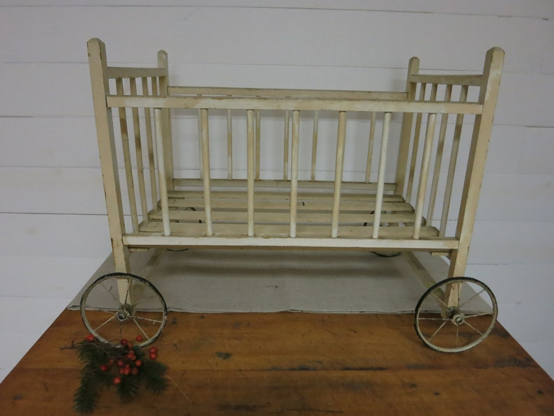 Antique Baby Crib On Wheels Etsy