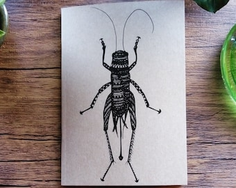 A6 Recycled Card Cricket Insect Print Lined Notebook