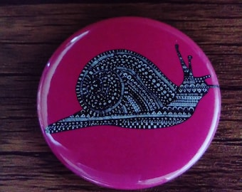 Pocket Mirror Pink Snail Insect Bug 58mm Rainbow Colourful Bright
