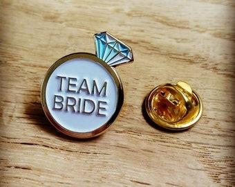 TEAM BRIDE enamel pin for hen do gifts, bridesmaids, bridal party