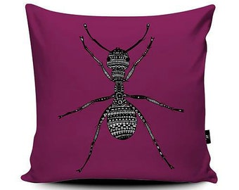 Vegan Suede Cushion Bright Purple Ant Insect Pattern Print 43cm