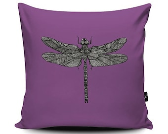 Vegan Suede Dragonfly Purple Insect Pattern Print Cushion 43cm