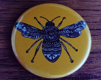 Pocket Mirror Mustard Yellow Bee Insect Bug 58mm Rainbow Colourful Bright