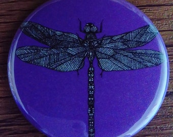 Pocket Mirror Purple Dragonfly Insect Bug 58mm Rainbow Colourful Bright