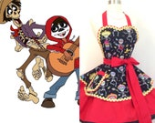 Coco Inspired costume Apron,Mariachi Band Day Of The Dead Woman 39 s Apron, Retro Apron, Rockabilly, Sugar Skulls, Disneybound