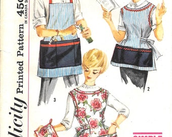 Vintage Apron Pattern His and Hers Button Tie Back Cobbler Bib Pockets Pot Holder 1960s Simplicity 3206 Small Bust 32 Uncut