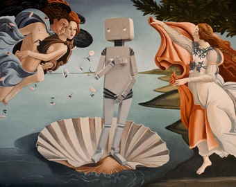 RoBotticelli. print of an original surreal oil painting