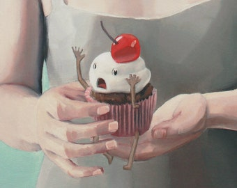 Sweet Screams. print of an original surreal oil painting