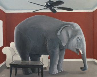 The Elephant in the Room. Print of a surreal oil painting