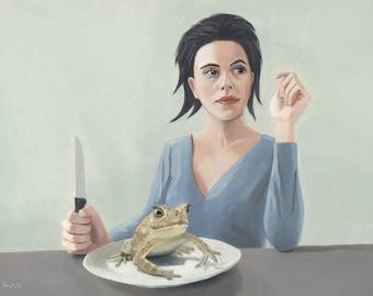 Frog Legs. Print of an original surreal oil painting