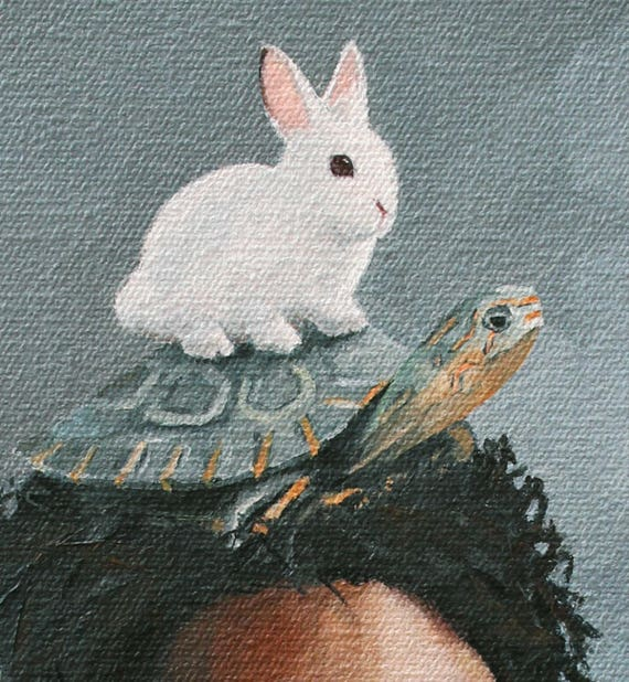 The Tortoise And The Hare Print Of An Original Oil Painting Etsy