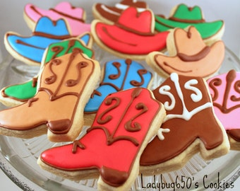 12 Cowboy boot and hat cookies, handmade & iced
