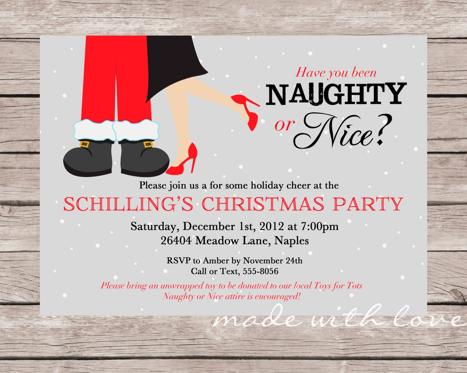 Naughty or Nice-A Christmas/Holiday party invitation 5x7 | Etsy