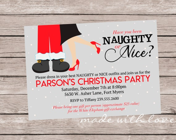 Naughty Ou Nice A Christmasholiday Party Invitation 5x7 Personnalisé Et Imprimable