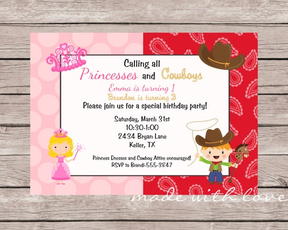 A Princess and Cowboy Birthday Invitation, personalized and printable, 5x7