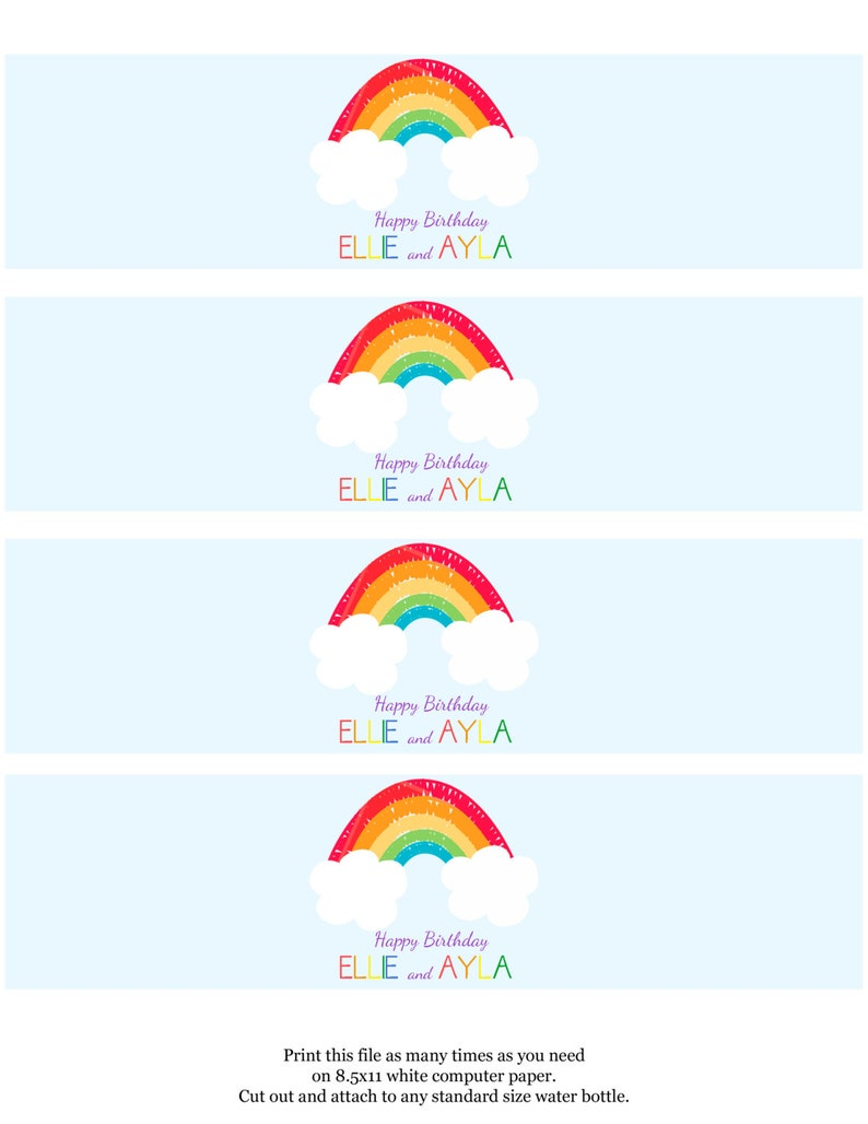 5x7 Rainbow Party Invitation personalized and printable