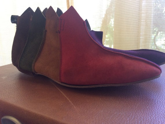 Deadstock 1960s Suede Patchwork Pixie Ankle Boots