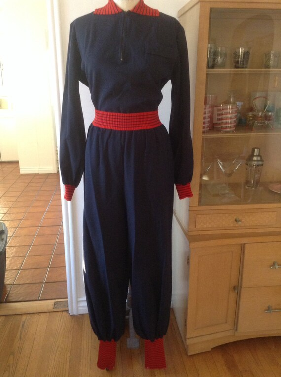 Navy Gabardine Ski Suit Pants and Pullover Shirt