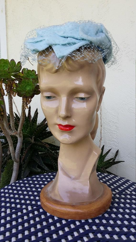 Lightest Blue Ladies Hat Mesh Veil 1950s