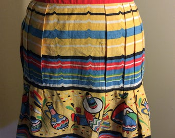 Novelty Print Mexican Apron Bright Vibrant Cotton