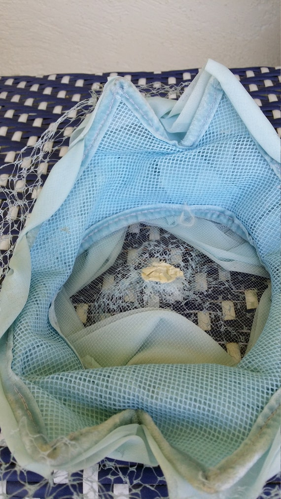 Lightest Blue Ladies Hat Mesh Veil 1950s - image 6