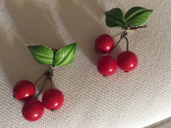 Cherry Drop Clip Earrings Rockabilly